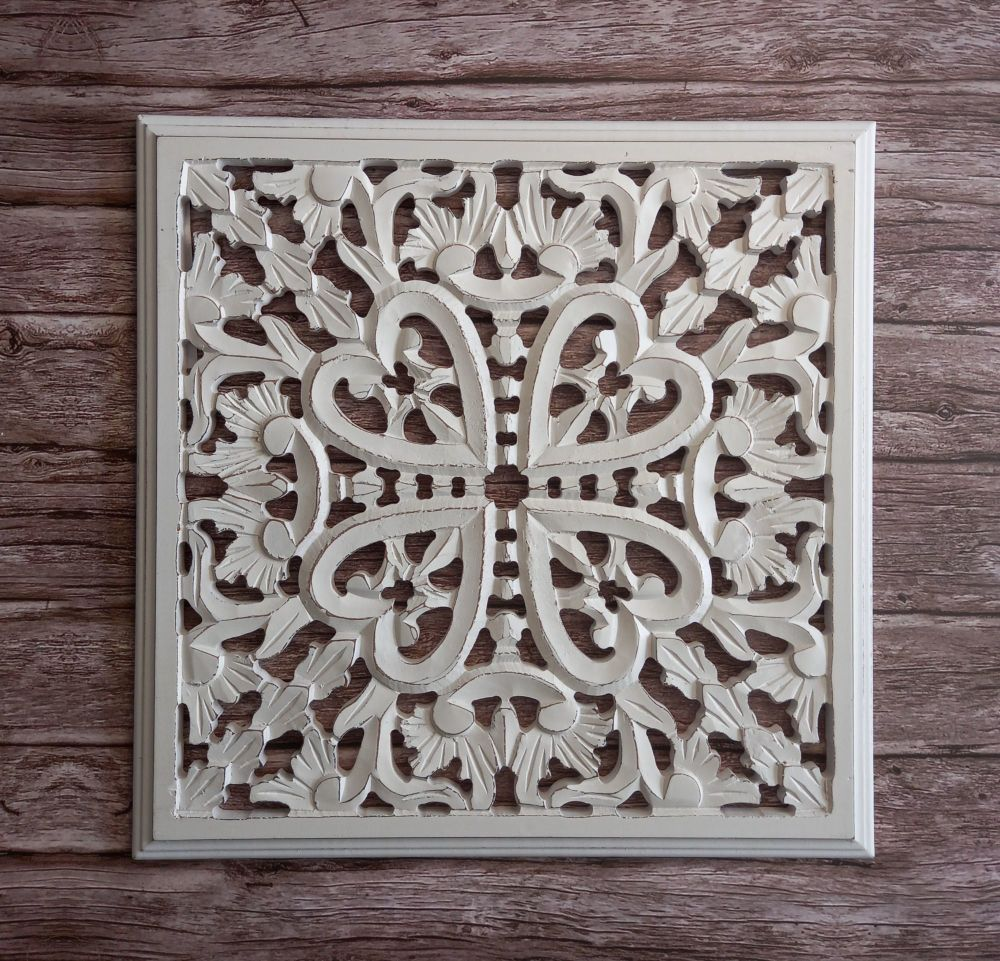 Square White Wood Wall Panel