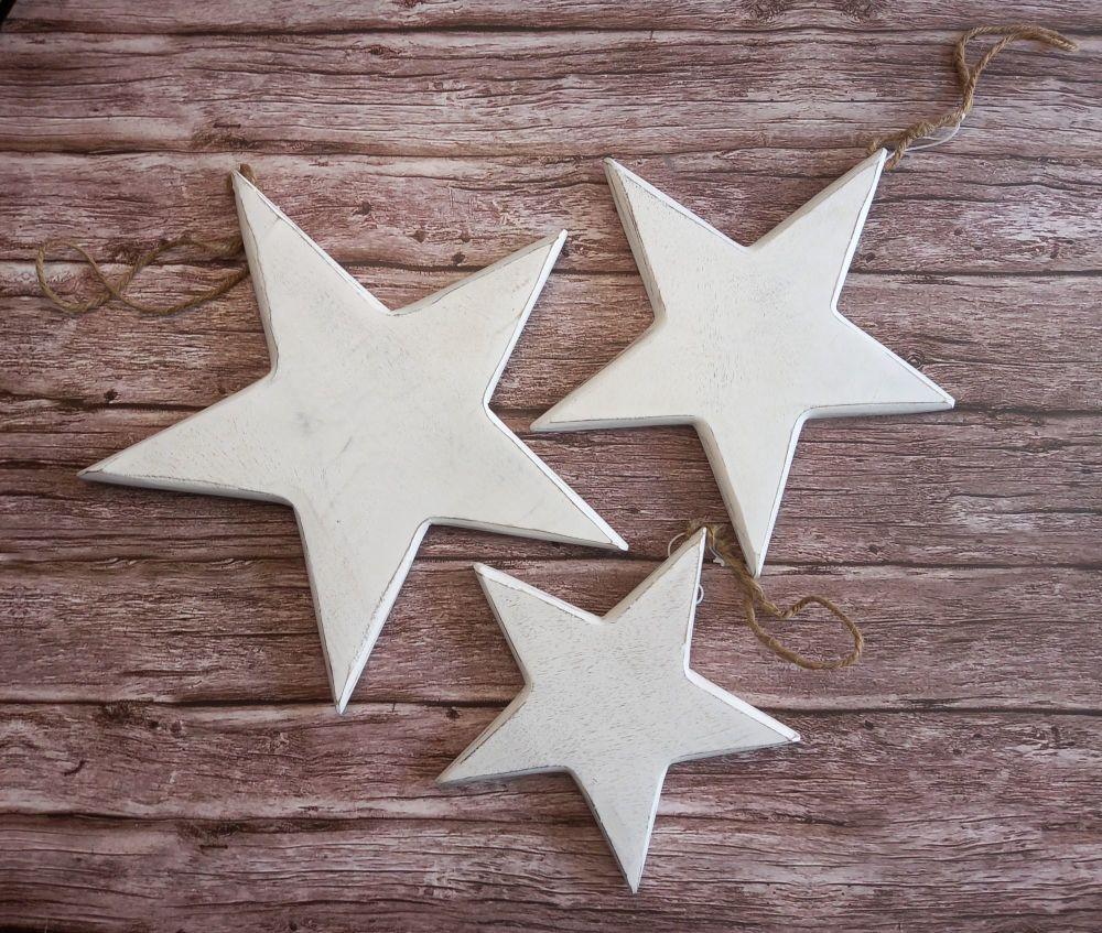 Vintage Style White Wood Stars