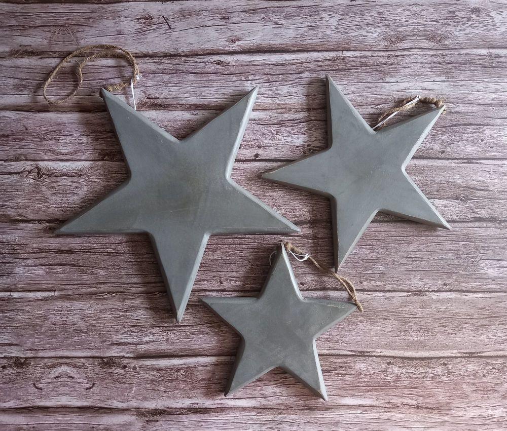 Vintage Style Grey Wood Stars