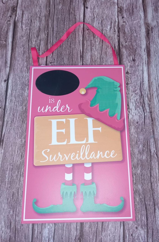 Elf Surveillance Plaque - Chalkboard