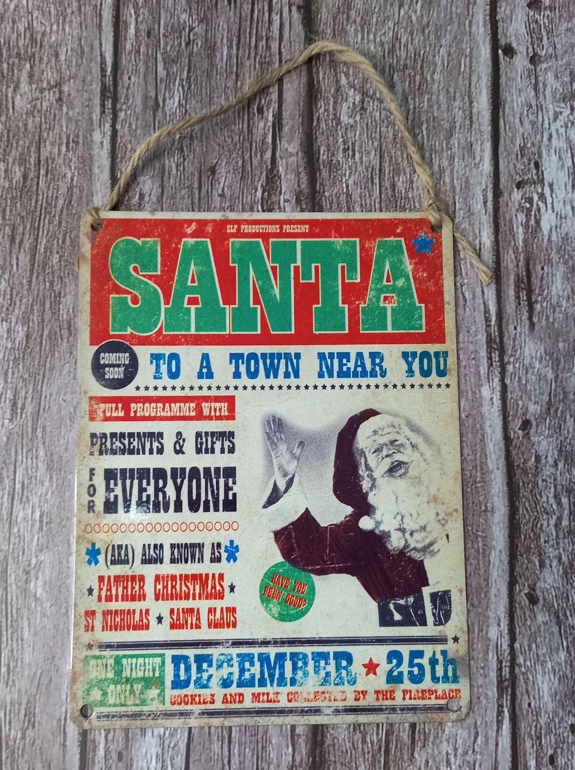 Metal Sign - Santa