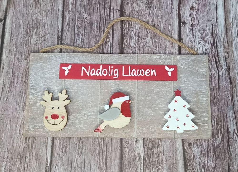 Nadolig Llawen Triple Peg Sign Santa Letter/Card Holder