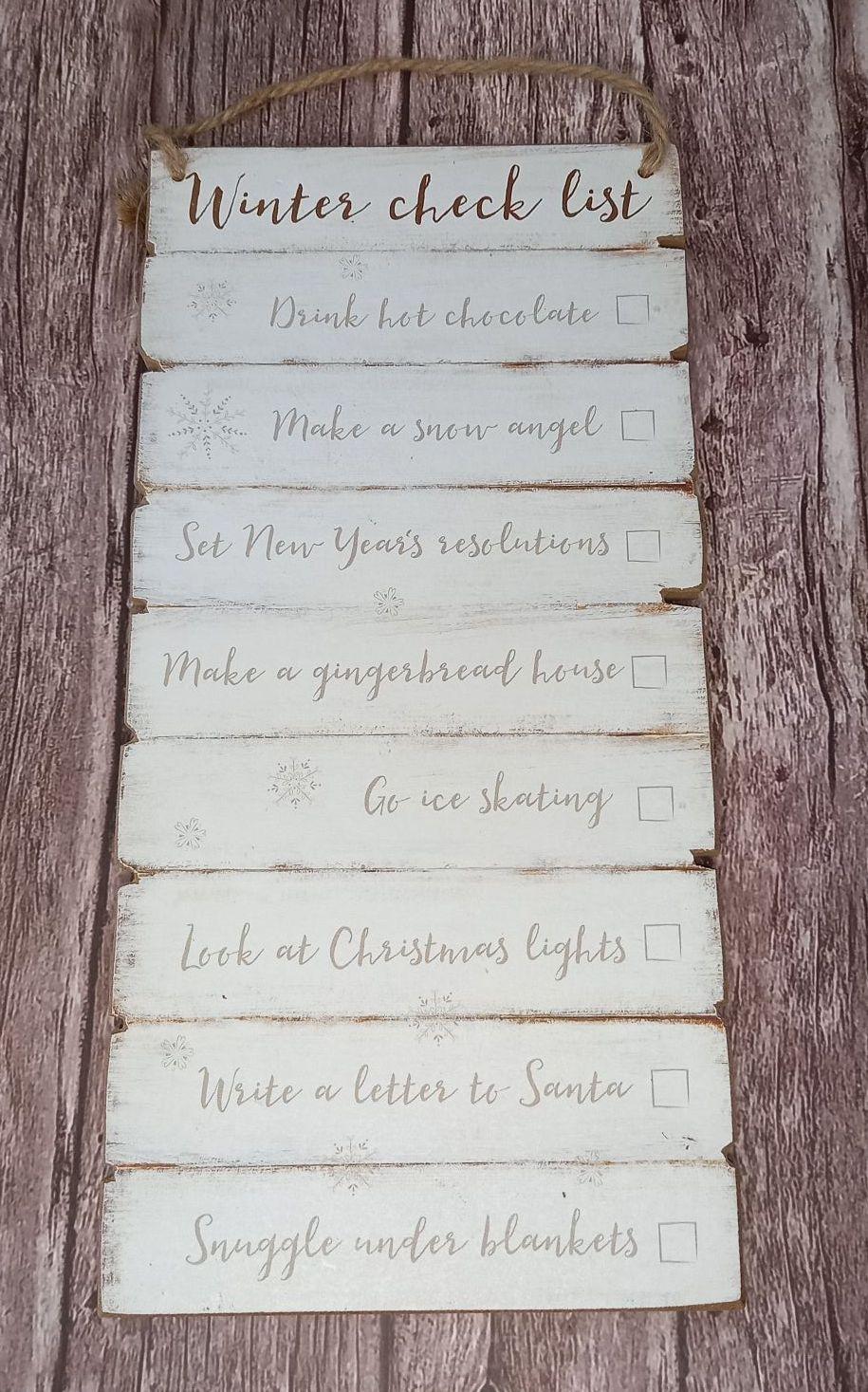 Winter Checklist Plaque