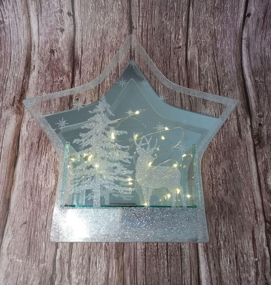 Glitter Mirror LED Star Ornament - Small