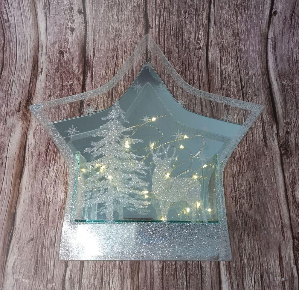 Glitter Mirror LED Star Ornament - Large