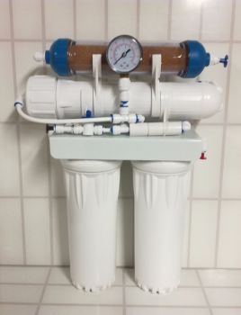 50gpd 4 stage r/o unit with inline di and pressure gauge