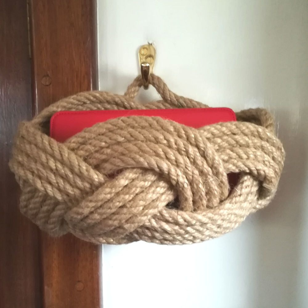 Rustic Rope Basket with hanging loop.