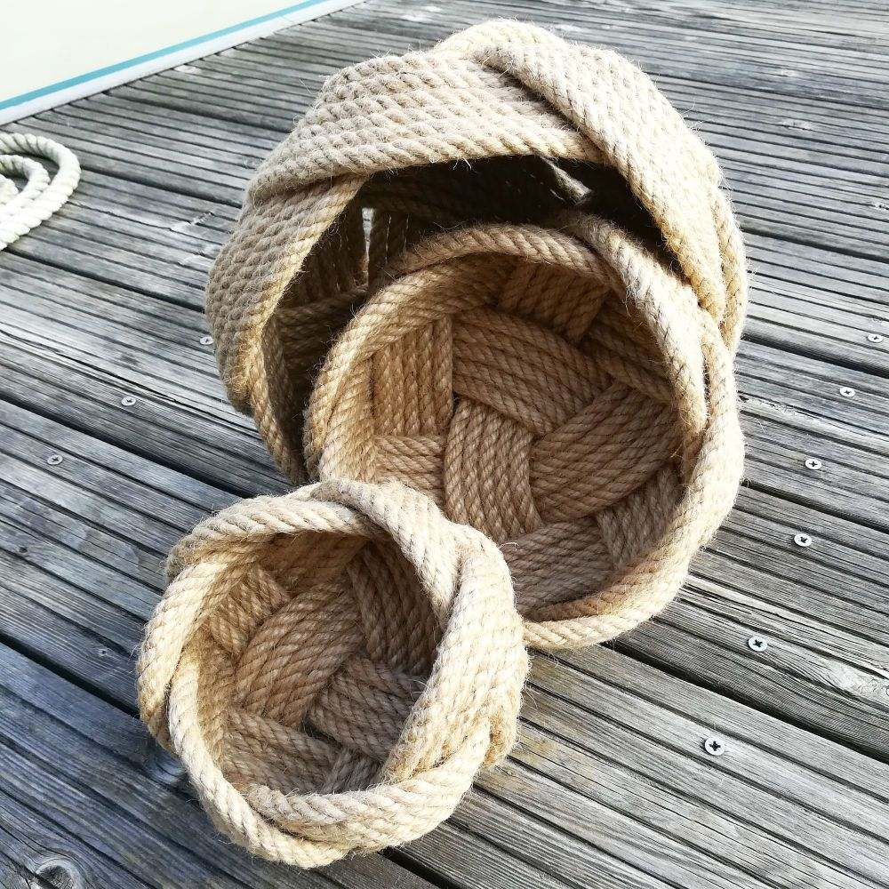 Set of Three Natural Rope Knot Baskets