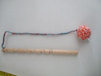 Orange & White Blue Speckle Crocheted Ball Straggle Stick