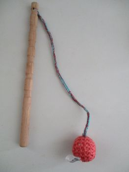 Salmon Pink Crocheted Ball Straggle Stick