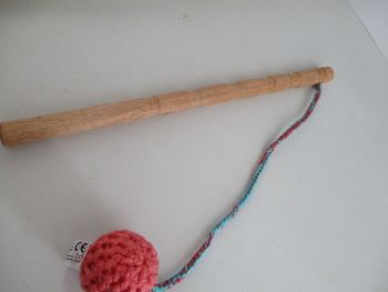 Salmon Pink Crocheted Ball Straggle Stick (#2)