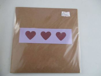 Triple Purple Heart Design Brown Kraft Card - Kitty Cat Confetti