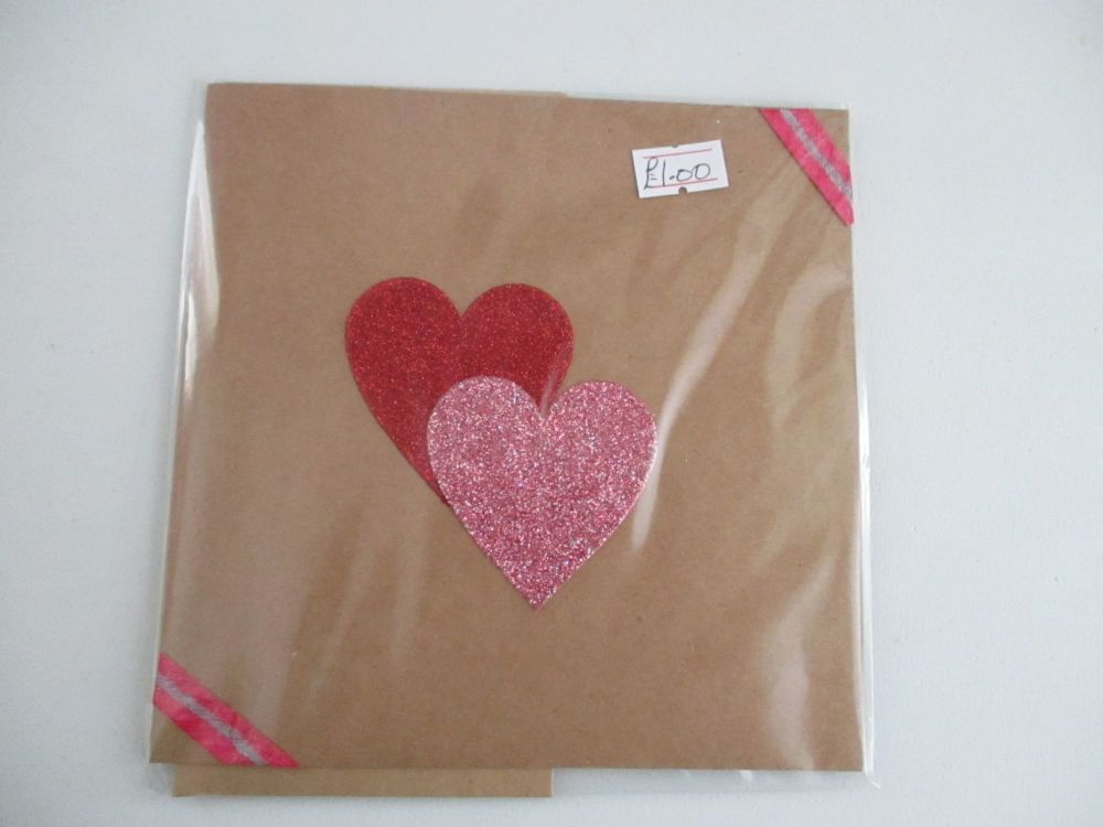 Two Glittered Hearts Design Brown Kraft Card - Kitty Johnson