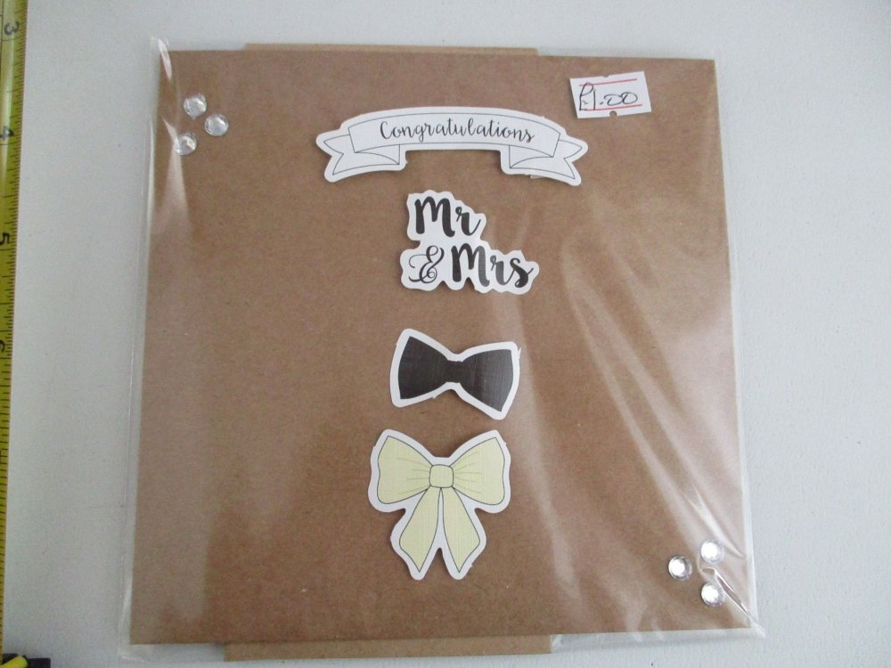 Mr & Mrs Bows Design Brown Kraft Card - Cards & Crafts By KittyMumma