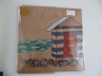 Beach Hut Scene with Bead Sand Design Brown Kraft Card - Cards & Crafts By KittyMumma