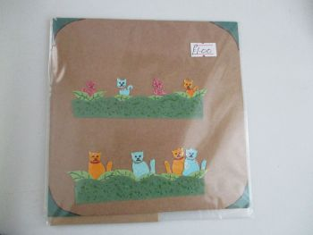 Cats In Hedgerows Design Brown Kraft Card - Cards & Crafts By KittyMumma