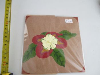 Red Flower Green Leaves Design Brown Kraft Card - Kitty Johnson