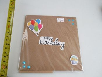 Happy Birthday and Balloons Design Brown Kraft Card - Cards & Crafts By KittyMumma