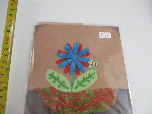 Blue & Red Flower with Bee Design Brown Kraft Card - Cards & Crafts By Kitt