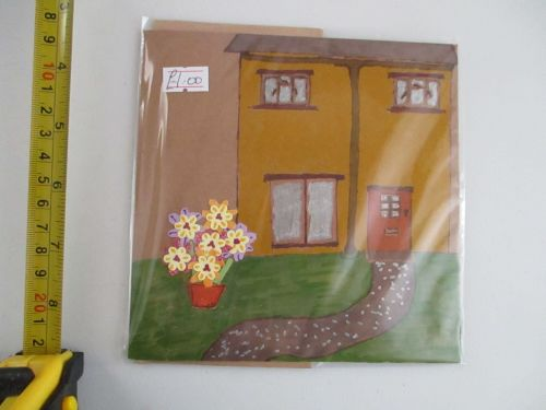 Yellow House with Cut-out Flowers Design Brown Kraft Card - Kitty Johnson