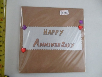 Silver Border Happy Anniversary Design Brown Kraft Card - Kitty Cat Confetti