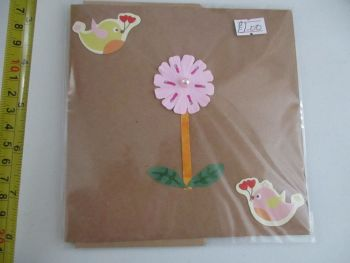 Pink Flower with Twin Birds Design Brown Kraft Card - Cards & Crafts By KittyMumma