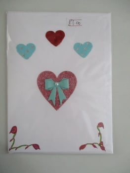 Glitter Heart and Bow Design White Card - Cards & Crafts By KittyMumma