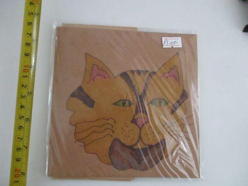 Yellow Cat Face Design Brown Kraft Card - Kitty Johnson