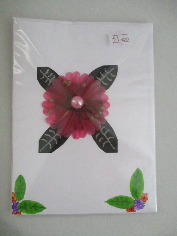 Black & Fuschia Oriental Flower Design White Card - Kitty Johnson