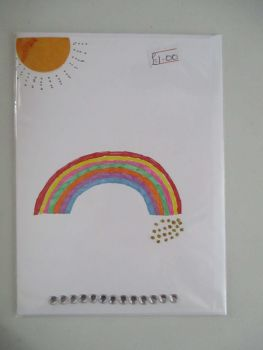 Rainbow & Sun Design White Card - Kitty Johnson