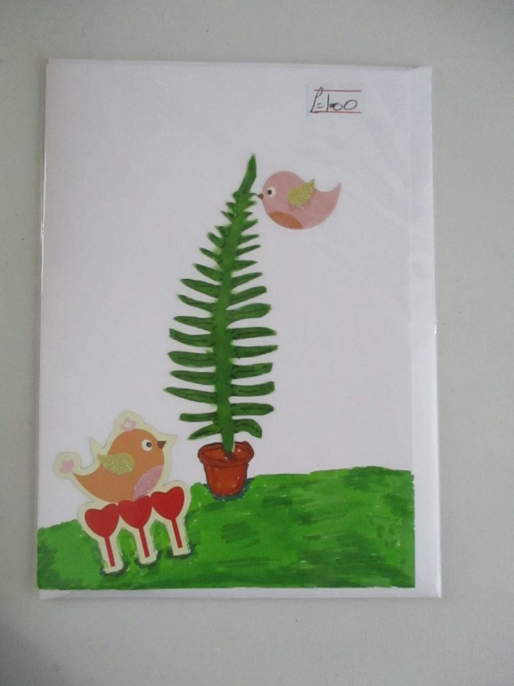 Lovebirds & Tree Design White Card - Cards & Crafts By KittyMumma