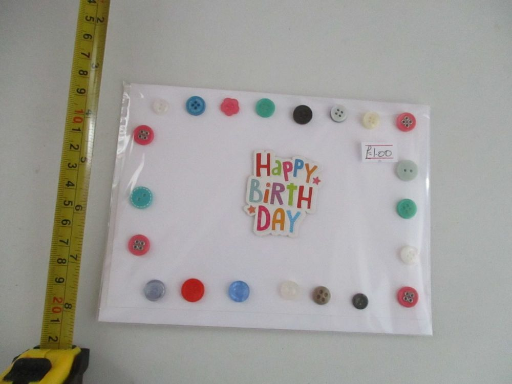 Happy Birthday with Buttons Border Design White Card - Cards & Crafts By Ki