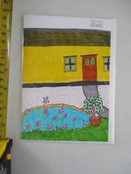 Yellow House with Pond Scene Design White Card - Kitty Johnson
