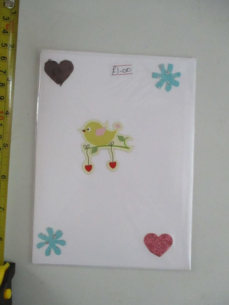 Hearts & Lovebirds Design White Card - Cards & Crafts By KittyMumma