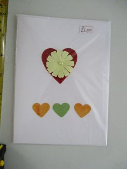 Heart Flower & Heart Row Design White Card - Cards & Crafts By KittyMumma