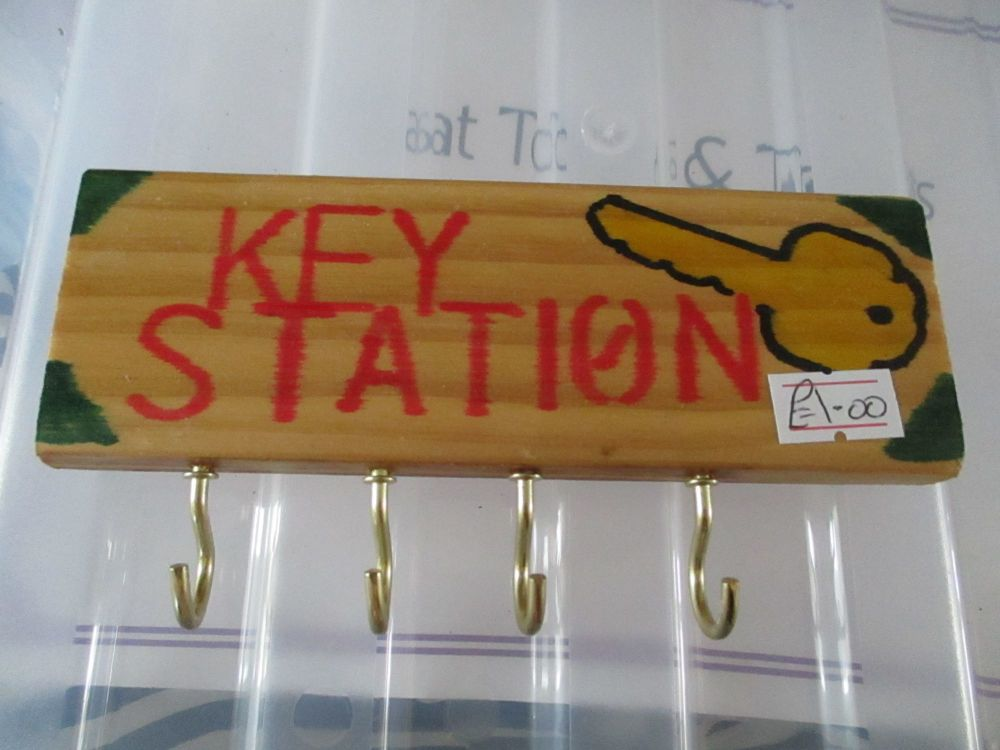 Yellow Key Station - Wooden Key Caddy - Des In The Shed