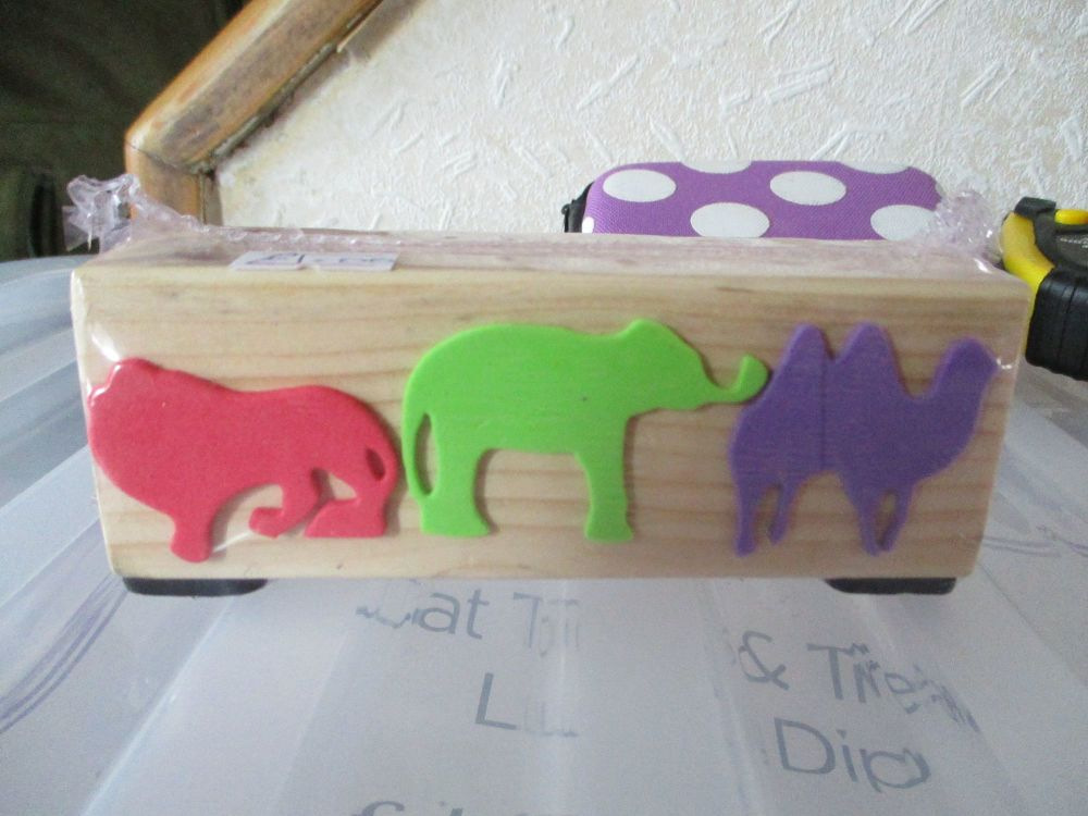 Lion Elephant Camel - Wooden Stationery Caddy - Des In The Shed