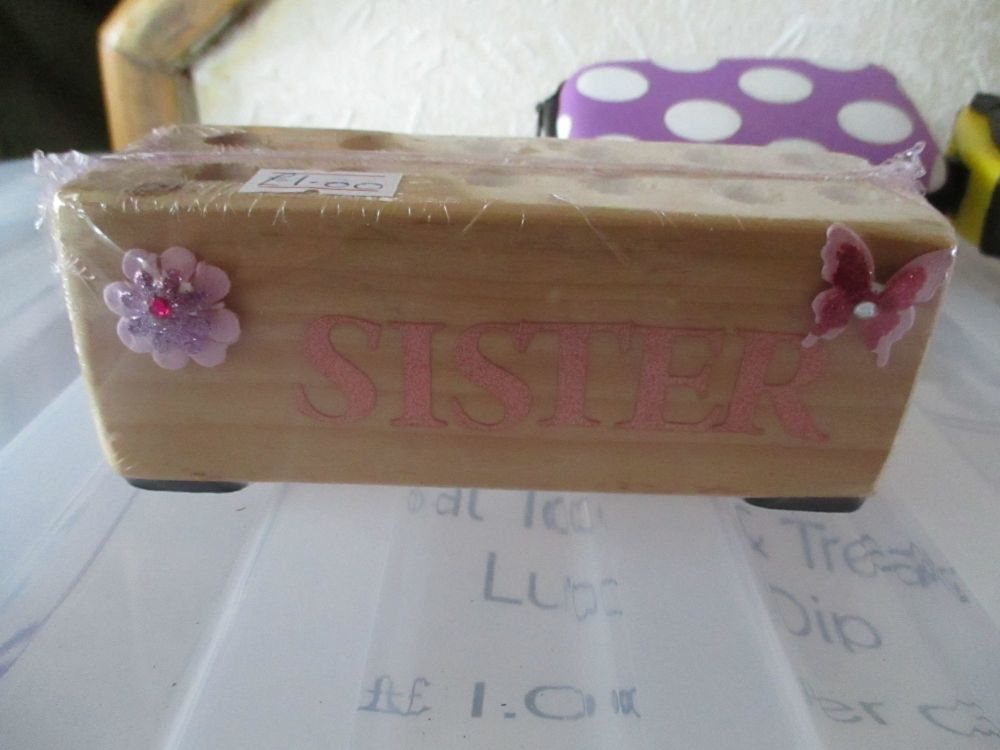 Sister - Wooden Stationery Caddy - Des In The Shed