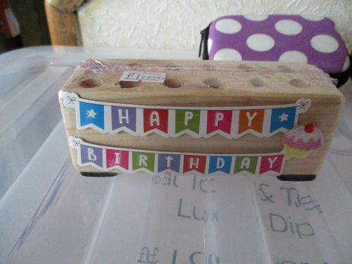Happy Birthday Banners - Wooden Stationery Caddy - Des In The Shed