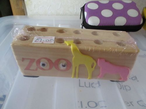 Zoo wording with Animals - Wooden Stationery Caddy - Des In The Shed