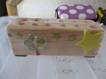 Starry Skies with Owl in Tree - Wooden Stationery Caddy - Des In The Shed
