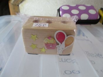 Cake and Balloons - Wooden Mini Stationery Caddy - Des In The Shed