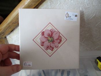 Cream & Pink Floral Ceramic Tile Stand - Wooden Base - Des In The Shed