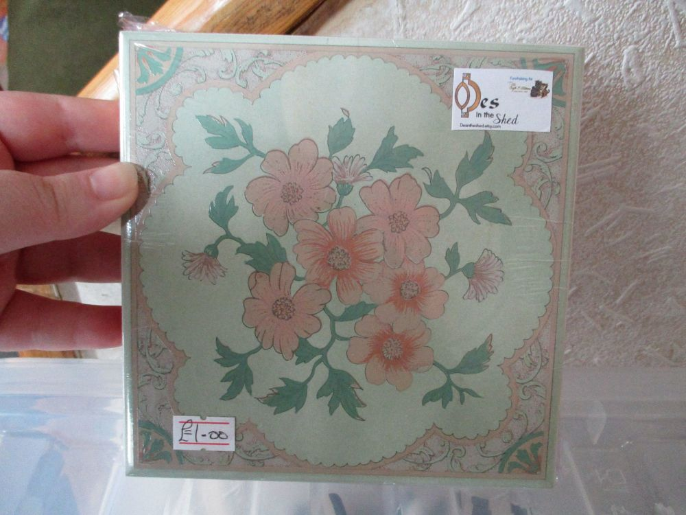 Green with Pink Border & Flowers Ceramic Tile Stand - Wooden Base - Des In