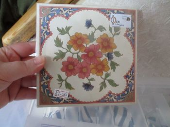 Cream with Blue & Pink Border - Orange/Pink Flowers Ceramic Tile Stand - Wooden Base - Des In The Shed