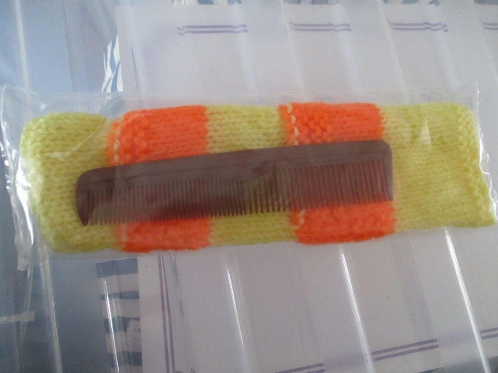 Yellow & Orange Knitted Comb Case with Comb - Knitted By KittyMumma