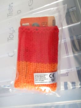 Orange / Red Knitted Tissue Caddy with Tissues - Knitted By KittyMumma