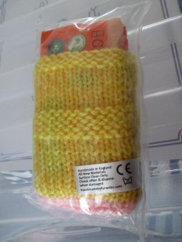 Mustard / Pink Knitted Tissue Caddy with Tissues - Knitted By KittyMumma