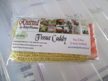 Mustard Knitted Tissue Caddy with Tissues - Knitted By KittyMumma