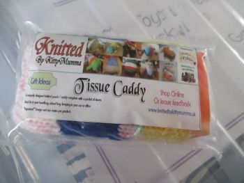 Pink / Blue / Yellow / Speckled Knitted Tissue Caddy with Tissues - Knitted By KittyMumma